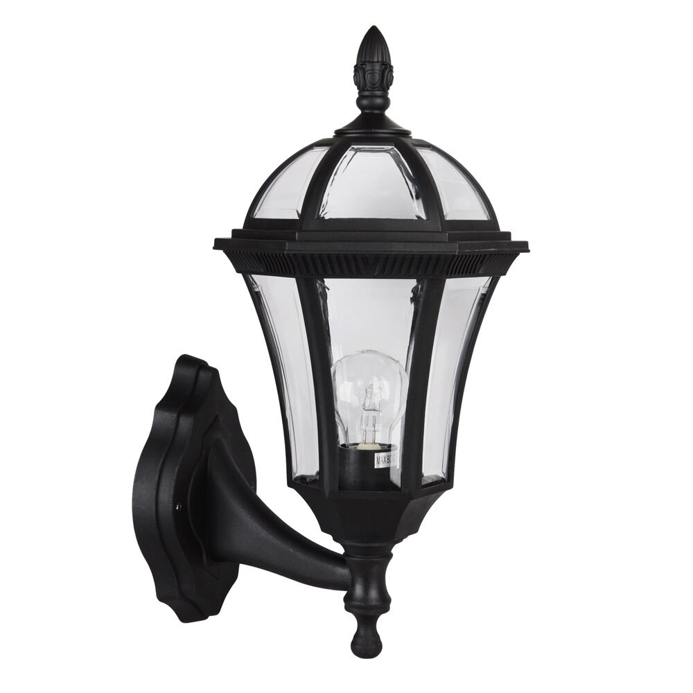 Traditional Nautical Black Ip44 Outdoor Garden Bollard: Vintage Style Black IP44 Outdoor Garden Outside Wall Light