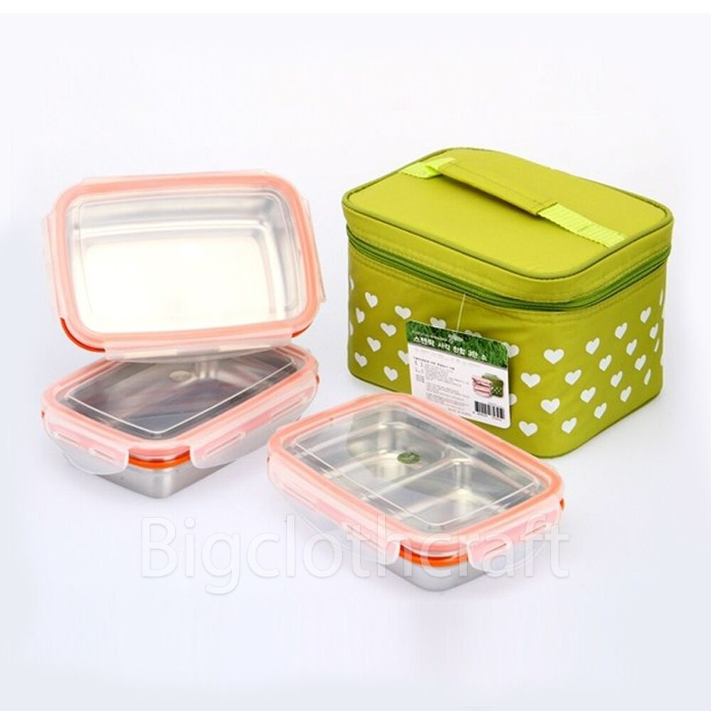 stenlock stainless steel retangle airtight lunch box food container 3pcs set s ebay. Black Bedroom Furniture Sets. Home Design Ideas