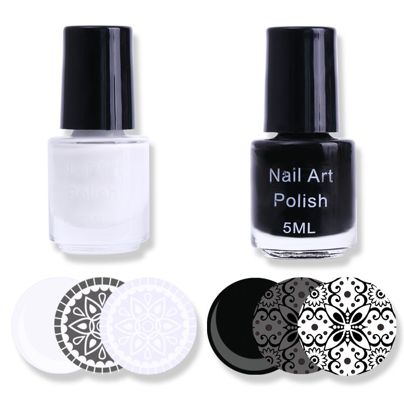 Black Nail Polish Ebay: 2Bottles 3ml White Black Color Nail Art Stamping Plate