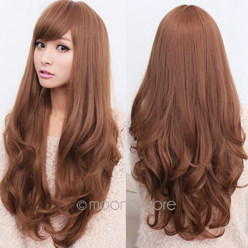 Stylish Womens Long Brown Curly Wavy Full Wigs Party Hair Cosplay ...