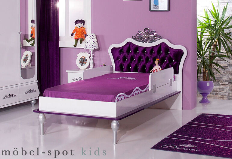 kinder bett anastasia lila 90 x 200 cm m dchenbett f r kinderzimmer brombeer neu ebay. Black Bedroom Furniture Sets. Home Design Ideas