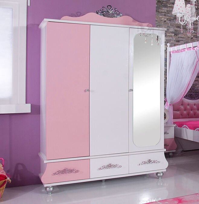 kleiderschrank 3 t rig kinderschrank anastasia rosa m dchen kinderzimmer neu ebay. Black Bedroom Furniture Sets. Home Design Ideas