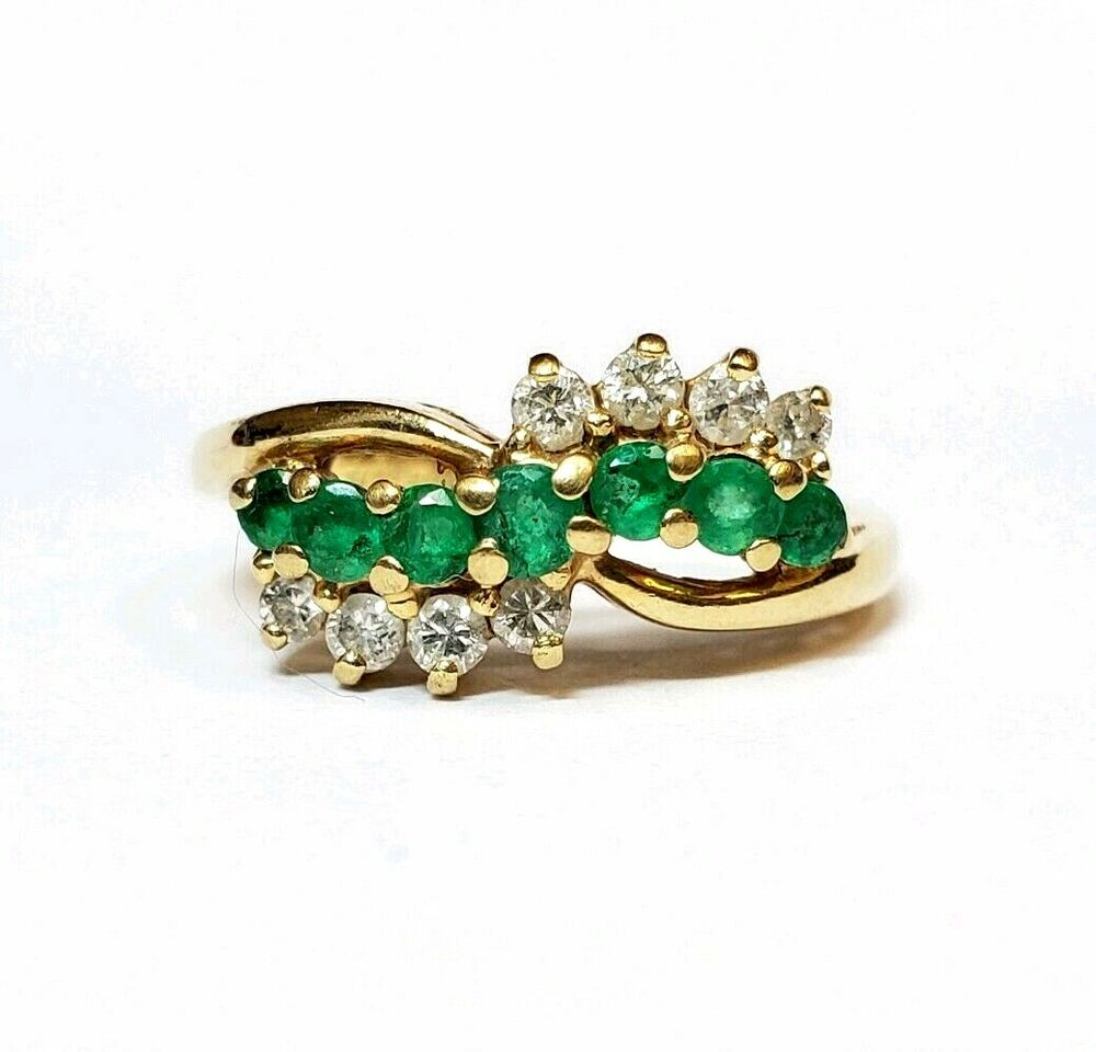 VINTAGE 14K YELLOW GOLD EMERALD & DIAMOND CLUSTER RING ...