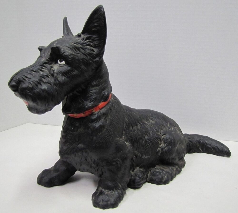 Old large cast iron sitting scottie dog doorstop big htf 412 hubley door stopper ebay - Cast iron dog doorstop ...
