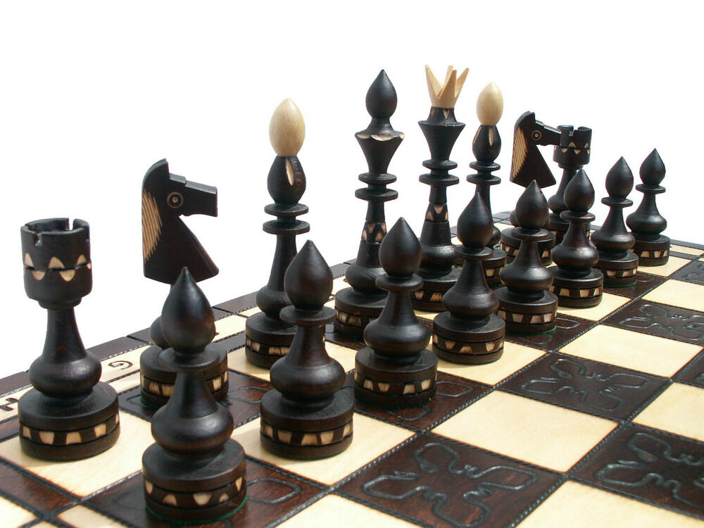 39 39 Indian 39 39 Wooden Chess Set 54x54cm Beautiful Crafted