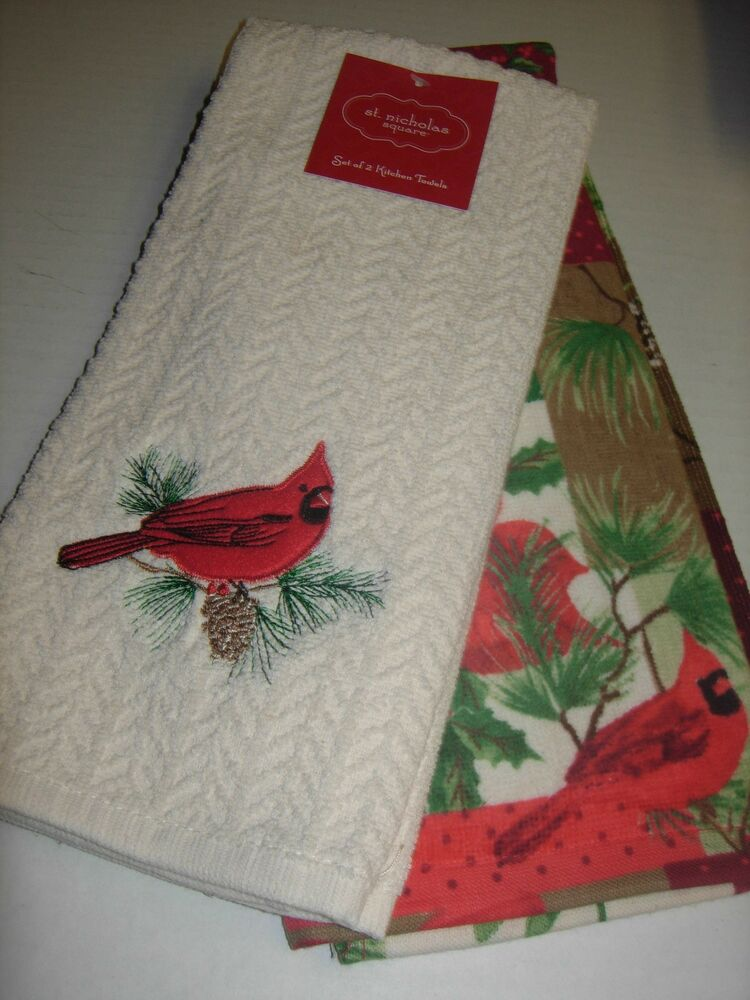 2 St Nicholas Square Kitchen Dish Towels Cardinals Birds