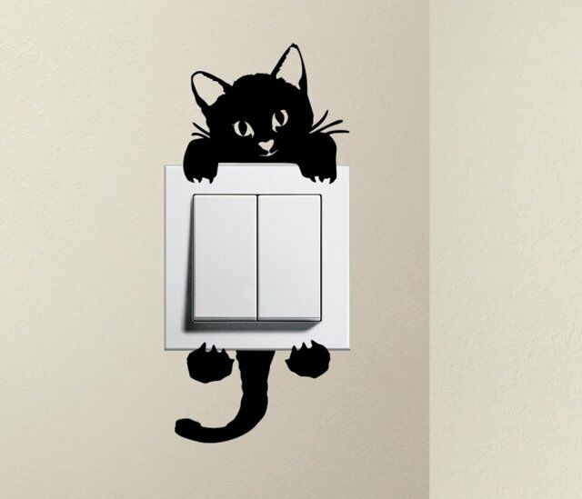 Designer Cute Kitty Cat Baby Pet Light Switch Decals