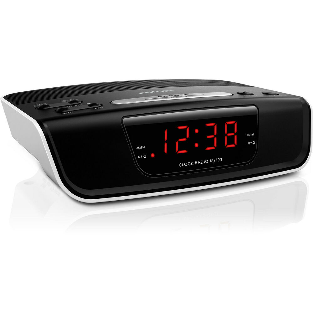 new philips aj3123 dual alarm digital clock radio red led ebay. Black Bedroom Furniture Sets. Home Design Ideas
