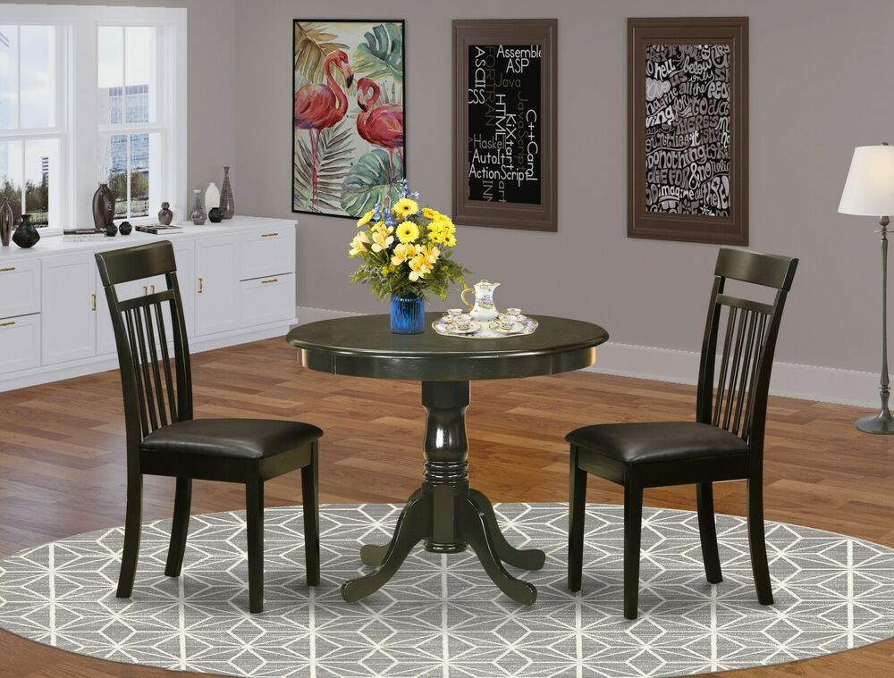 36 round single pedestal kitchen table 2 leather chairs for Leather chairs for kitchen table