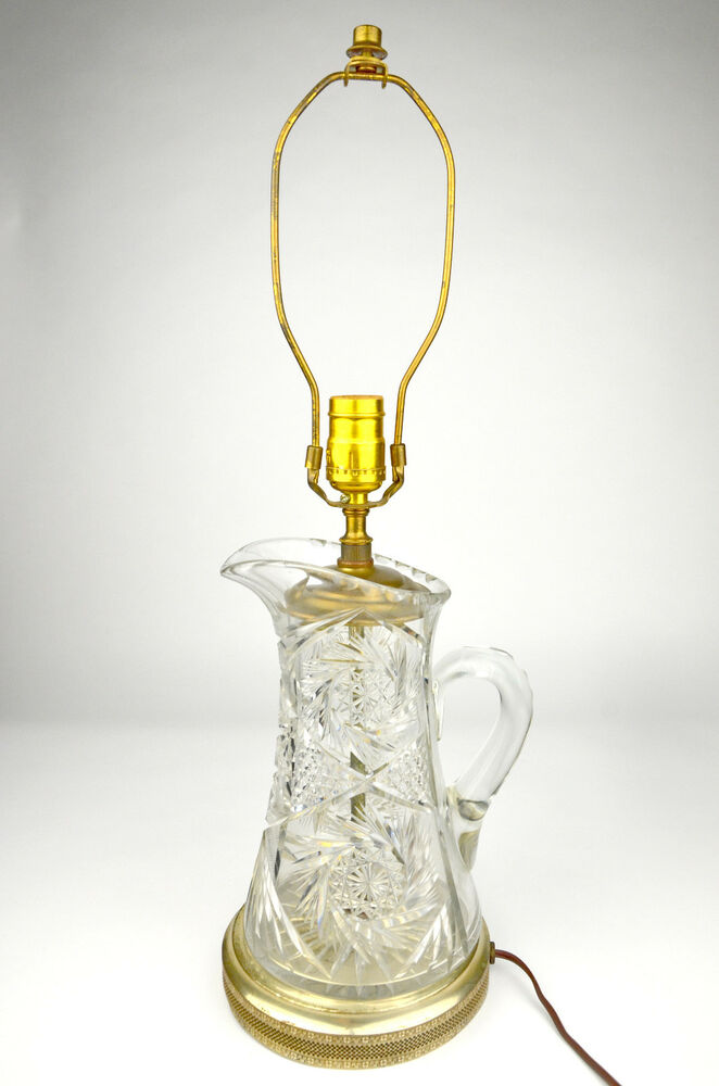 pitcher table lamp electric cut clear vintage hand bedside glass brass