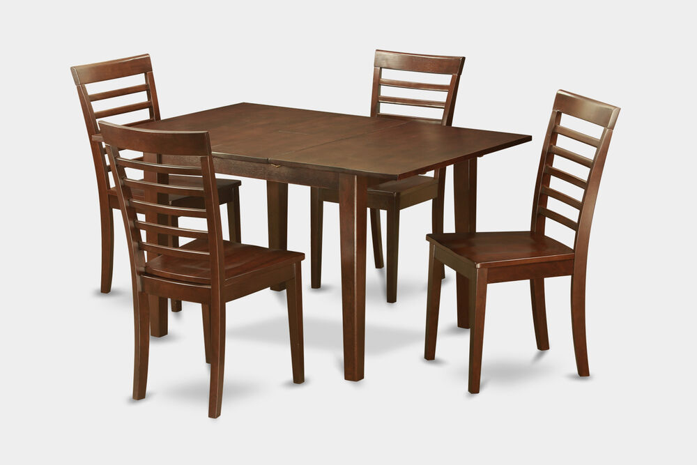 5 Pc Set Rectangular Kitchen Table And 4 Milan Wood Seat Chairs In Mahogany Ebay