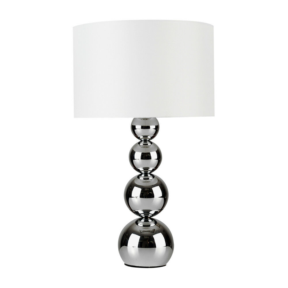 Modern Silver Chrome White Touch Base Table Lamp Lounge
