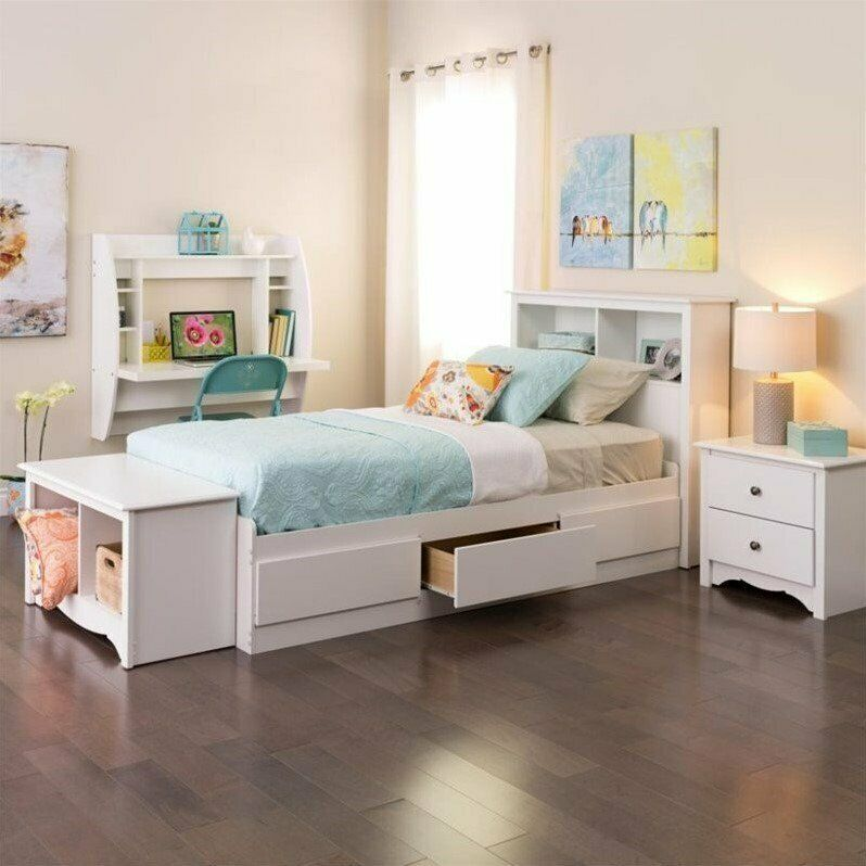 White twin platform storage bed wood storage drawers wood for Wood twin bed with storage