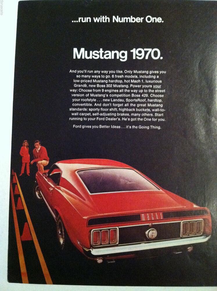1970 Ford Mustang Mach 1 Original Run With Number One Ad