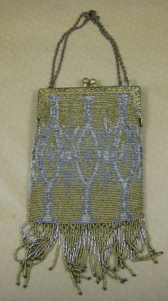 antique micro bead purse w tassels gold silver france diamond art deco ebay. Black Bedroom Furniture Sets. Home Design Ideas