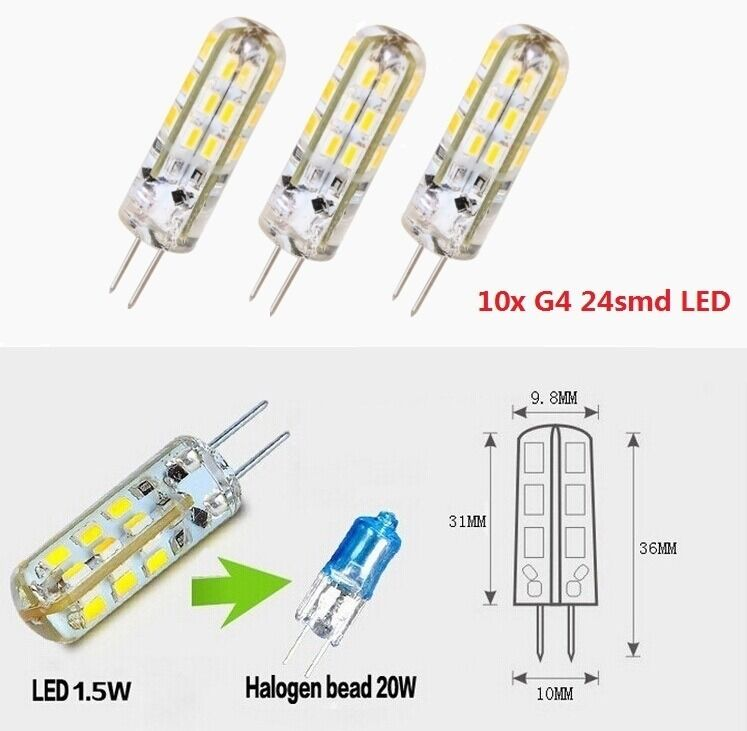 10x g4 1 5w 3w led 24 3014smd capsule bulb replace halogen dc 12v light lamps ebay. Black Bedroom Furniture Sets. Home Design Ideas