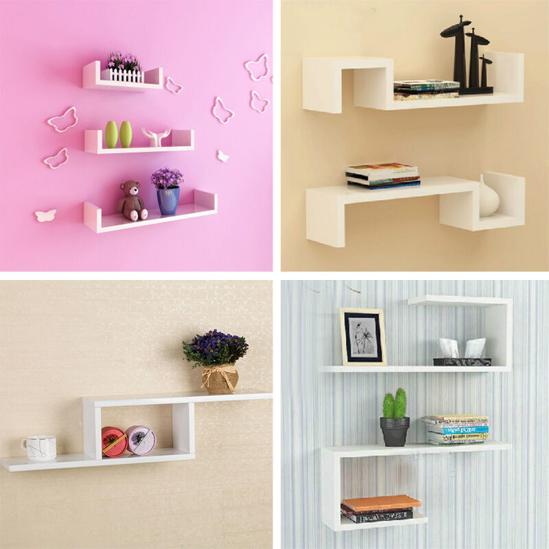 White wall mounted shelves mixed shapes bookshelving Wall mounted bookcase shelves