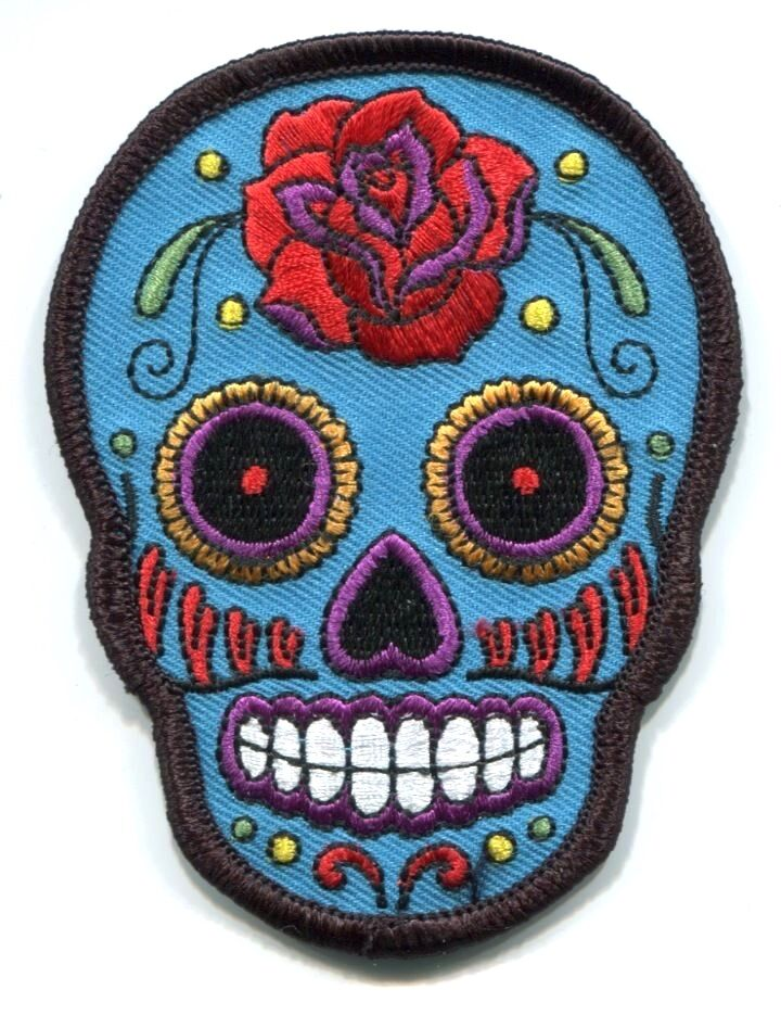SUGAR SKULL dia de los muertos EMBROIDERED IRON-ON PATCH ...