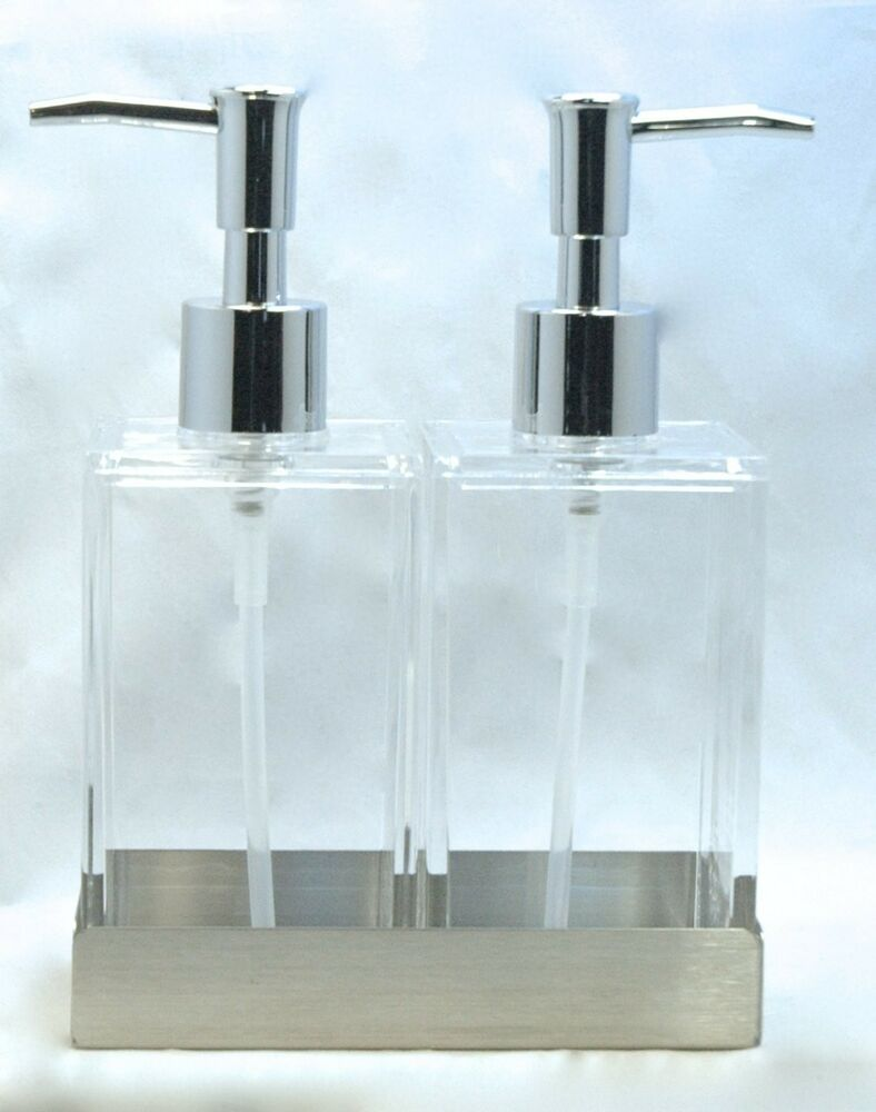 Twin Clear Acrylic Soap Amp Lotion Dispensers In Stainless
