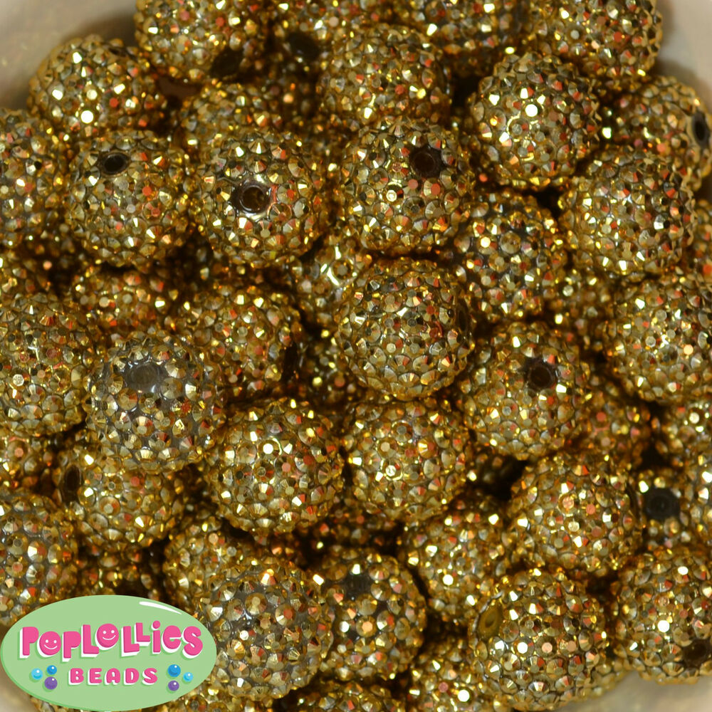 20mm Bead Beads: 20mm Gold Metallic Rhinestone Bubblegum Beads Sparkly