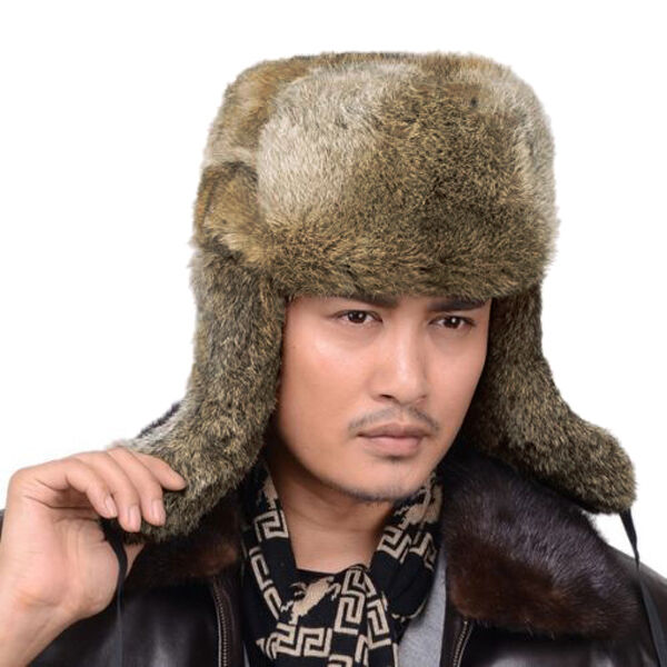 men 39 s winter real farm rabbit fur warm hat russian bombers guard cheek hat ebay. Black Bedroom Furniture Sets. Home Design Ideas