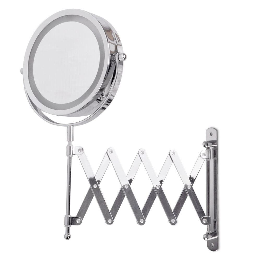 Extending Folding Illuminated Led Bathroom Make Up Cosmetic Shaving Wall Mirror Ebay