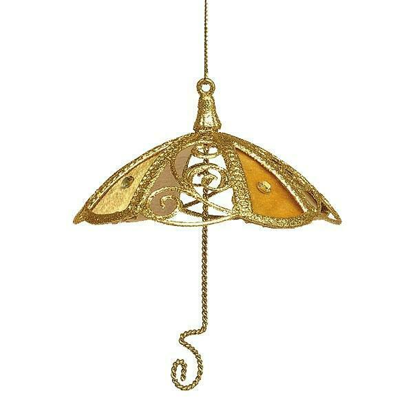 Pack gold umbrella deluxe christmas tree ornament