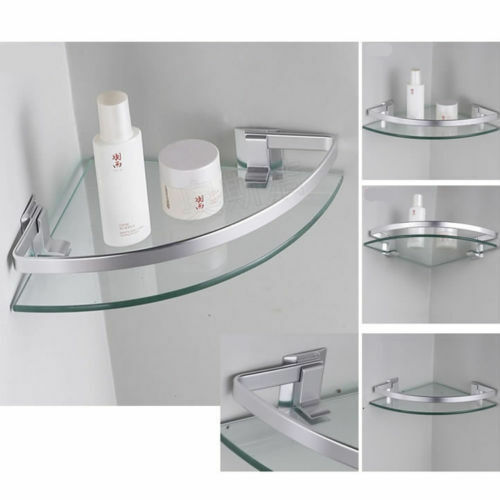 Aluminum corner shelves wall mounted triangle single - Bathroom glass corner shelves shower ...