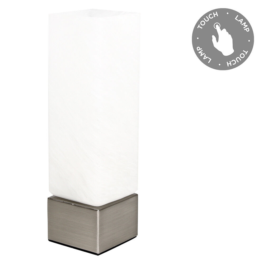 silver chrome touch dimmer bedside table light dimmable lamp frosted glass shade ebay. Black Bedroom Furniture Sets. Home Design Ideas