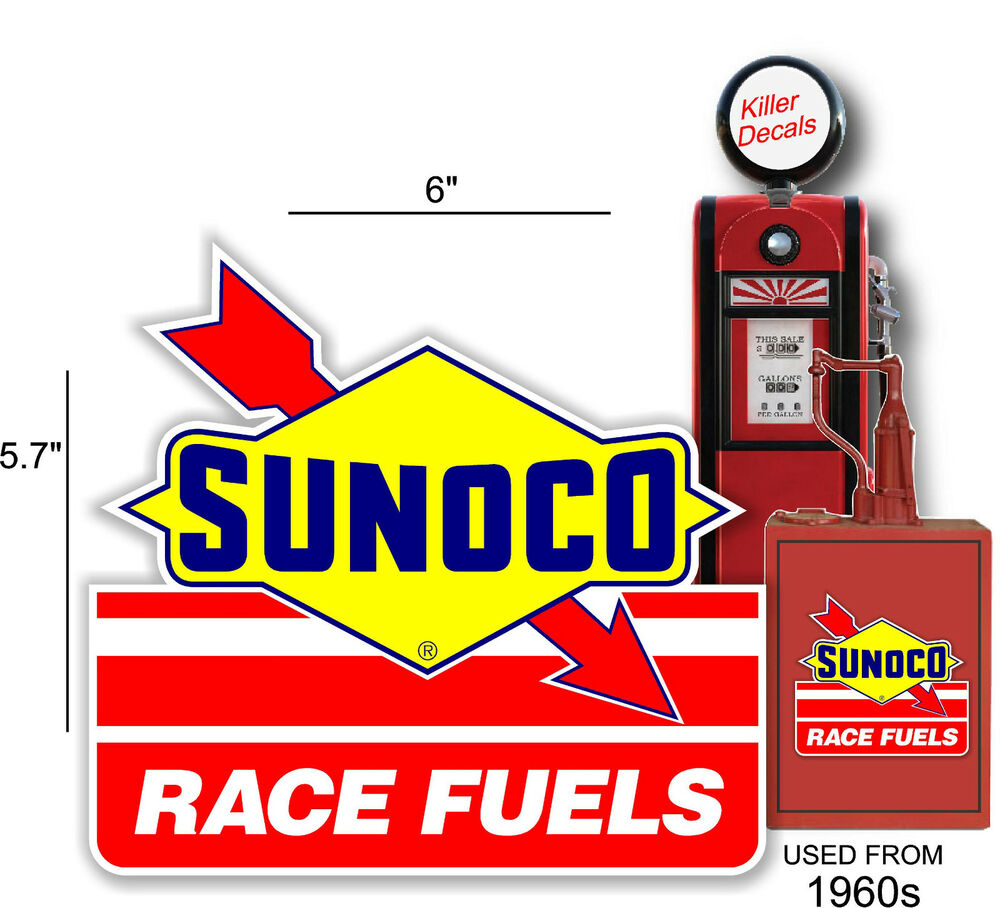 """6"""" SUNOCO RACING FUEL DECAL GAS AND OIL PUMP, SIGN, WALL"""