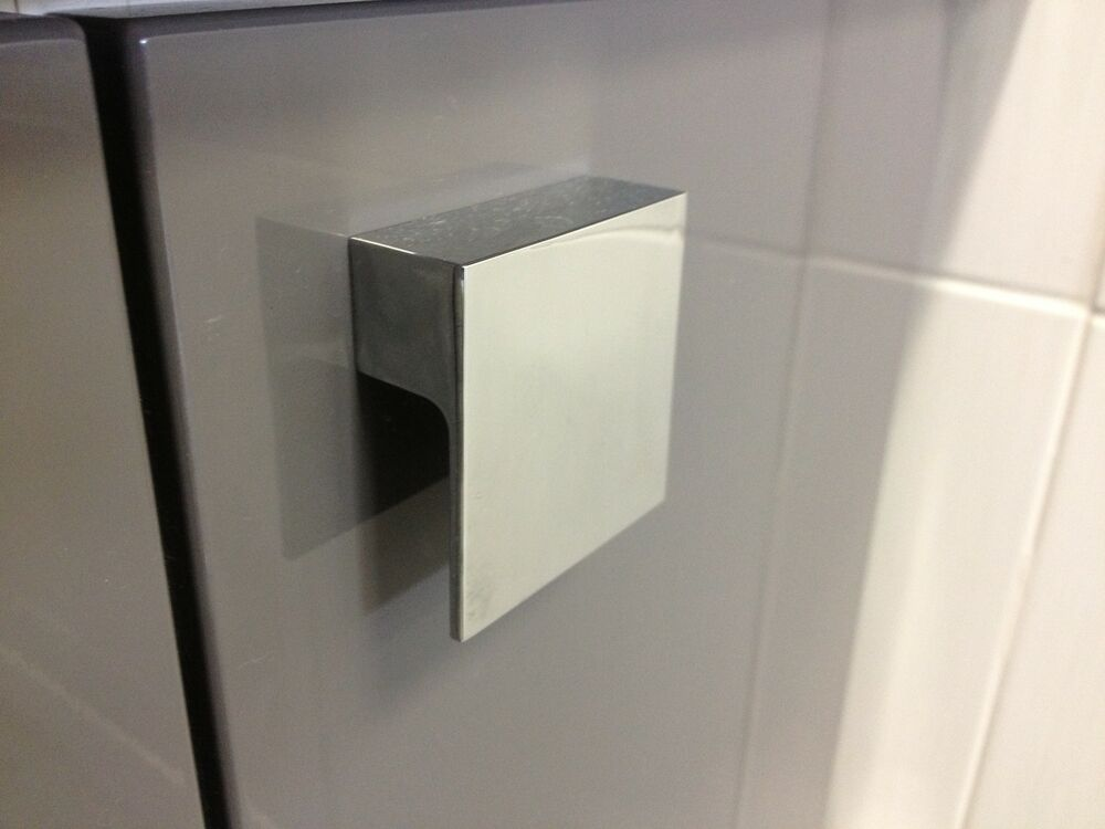 Polished Chrome 60mm Square L Shape Pull Knob Kitchen
