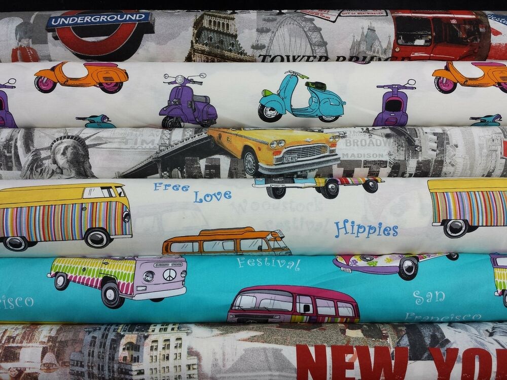 cotton prints new york camper vans taxi curtain upholstery craft designer fabric ebay. Black Bedroom Furniture Sets. Home Design Ideas