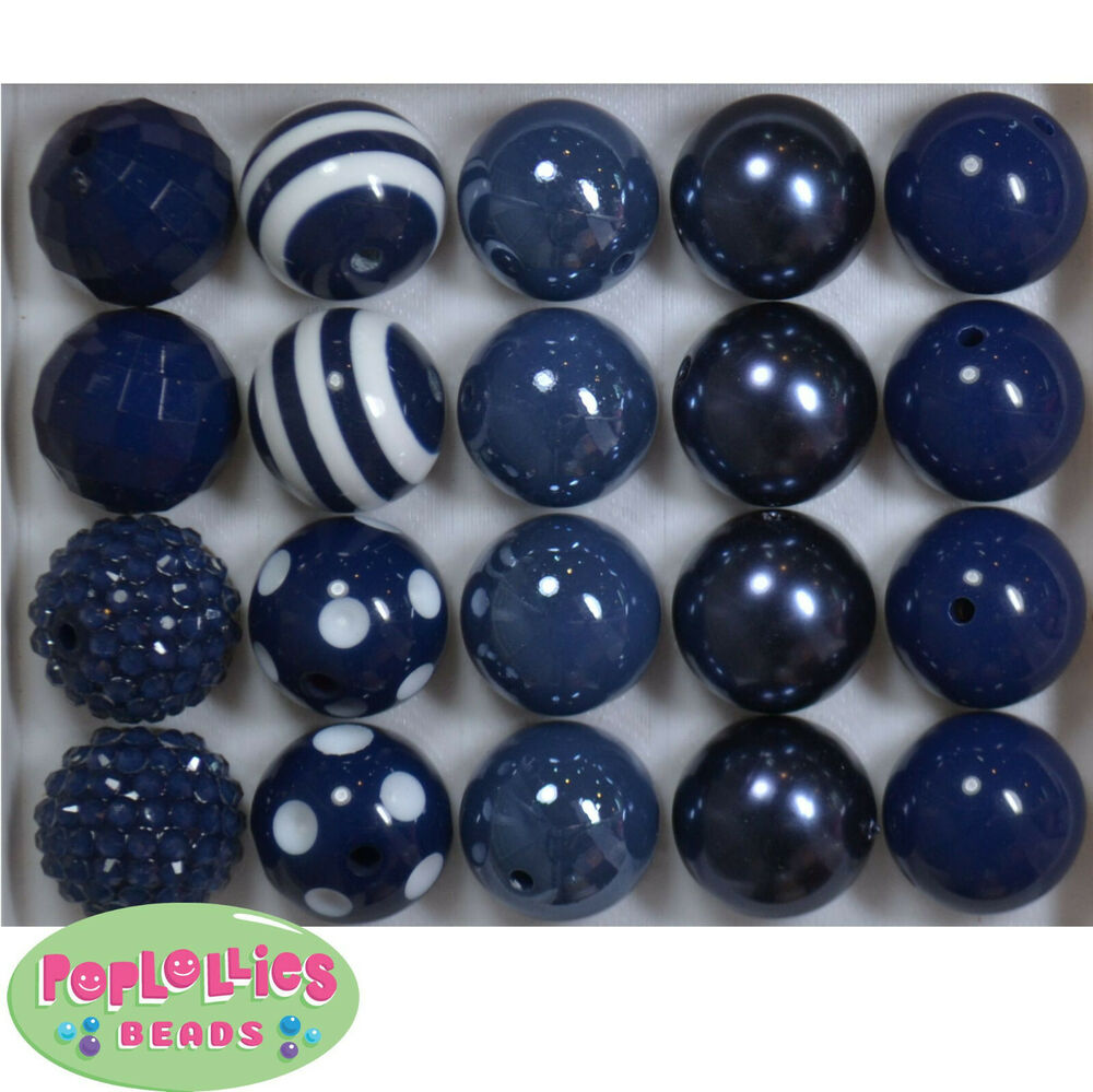 20mm Bead Beads: 20mm Assorted Style Navy Blue Acrylic Bubblegum Beads Lot
