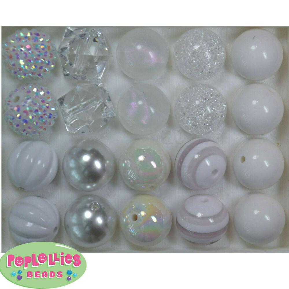 20mm Bead Beads: 20mm Bubblegum Beads Lot 20 Pc. WHITE Mixed Beads Chunky