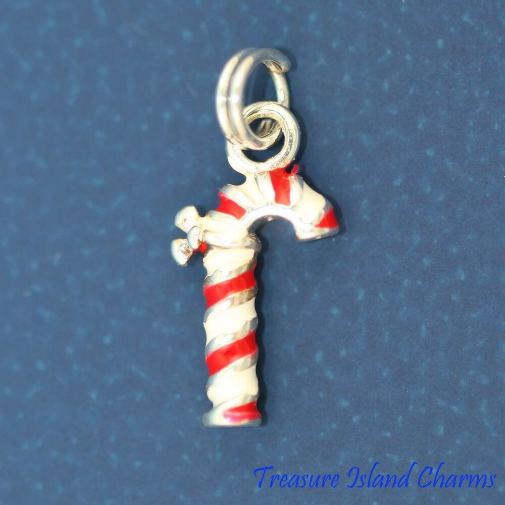 enamel red and white christmas candy cane 3d 925 solid