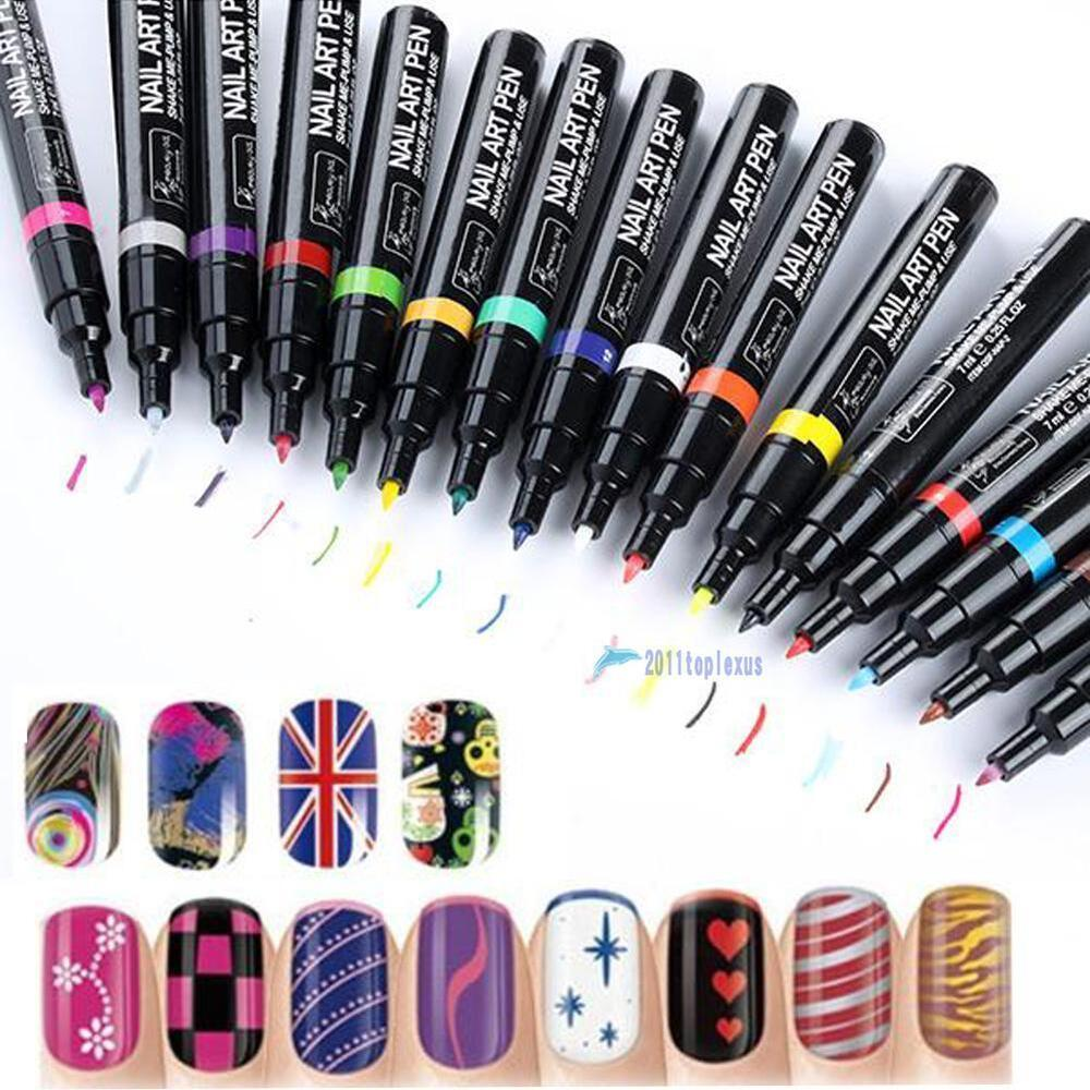 16 Color Nail Art Pen Painting Design Tool Drawing For Uv