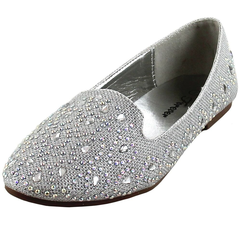 df09658567a Details about New women s shoes rhinestones ballet flats blink blink wedding  prom silver