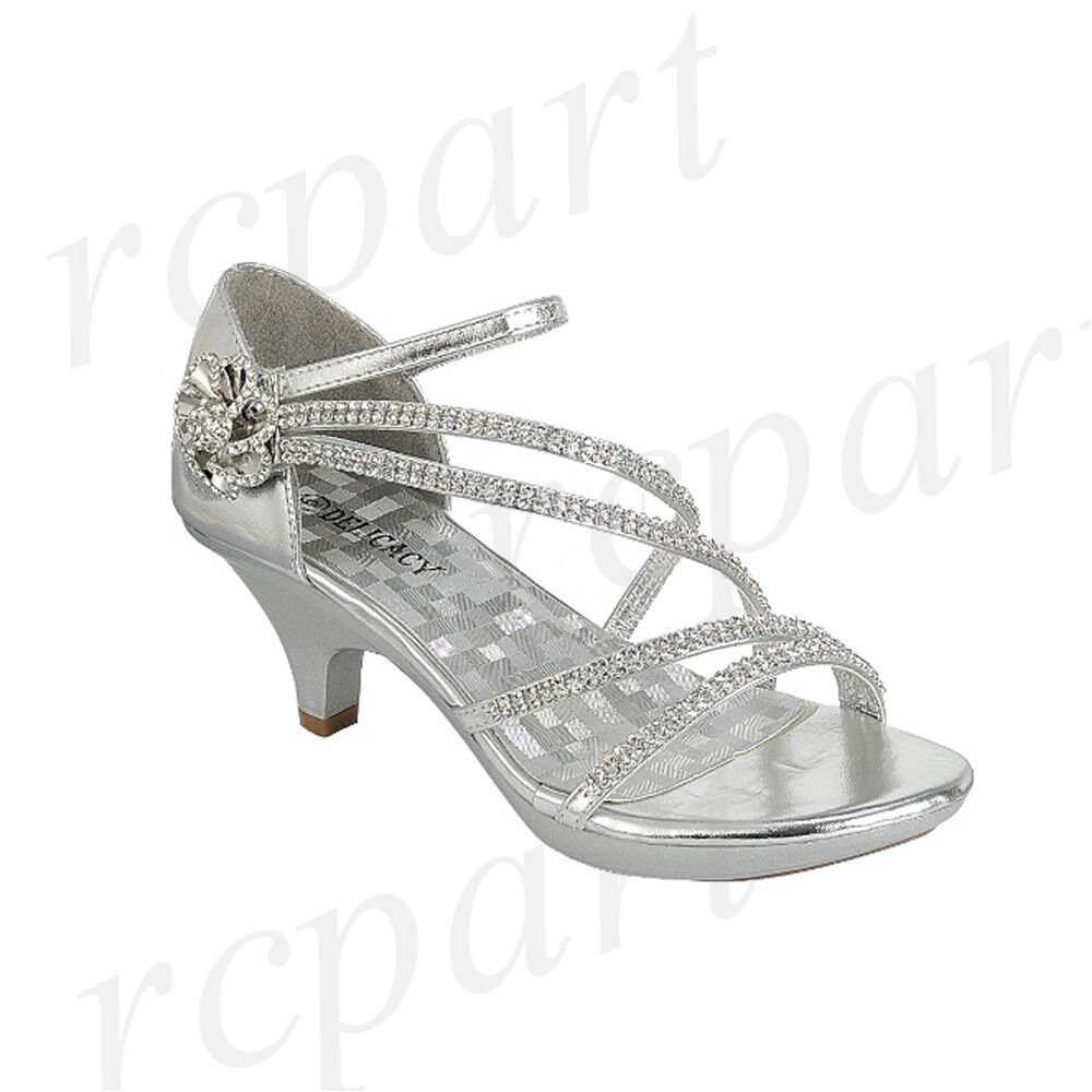 Silver Evening Shoes Mid Heel