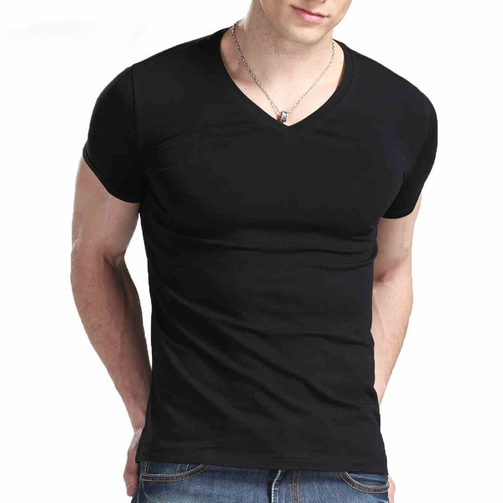 Quality Cotton Men Slim Tight T Shirt Short Sleeve V Neck