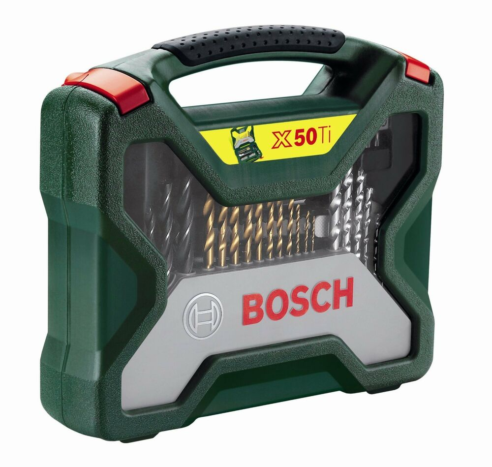 bosch 50 piece x line accessory set drill bits bit new free p p ebay. Black Bedroom Furniture Sets. Home Design Ideas