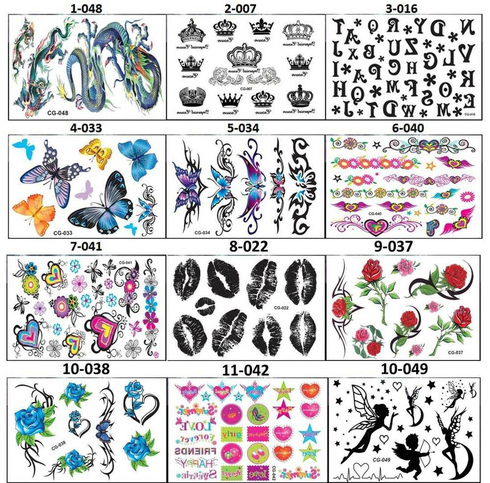 New temporary tattoos art stickers 3 30 on 4 5 x6 sheet for Temporary tattoos for kids