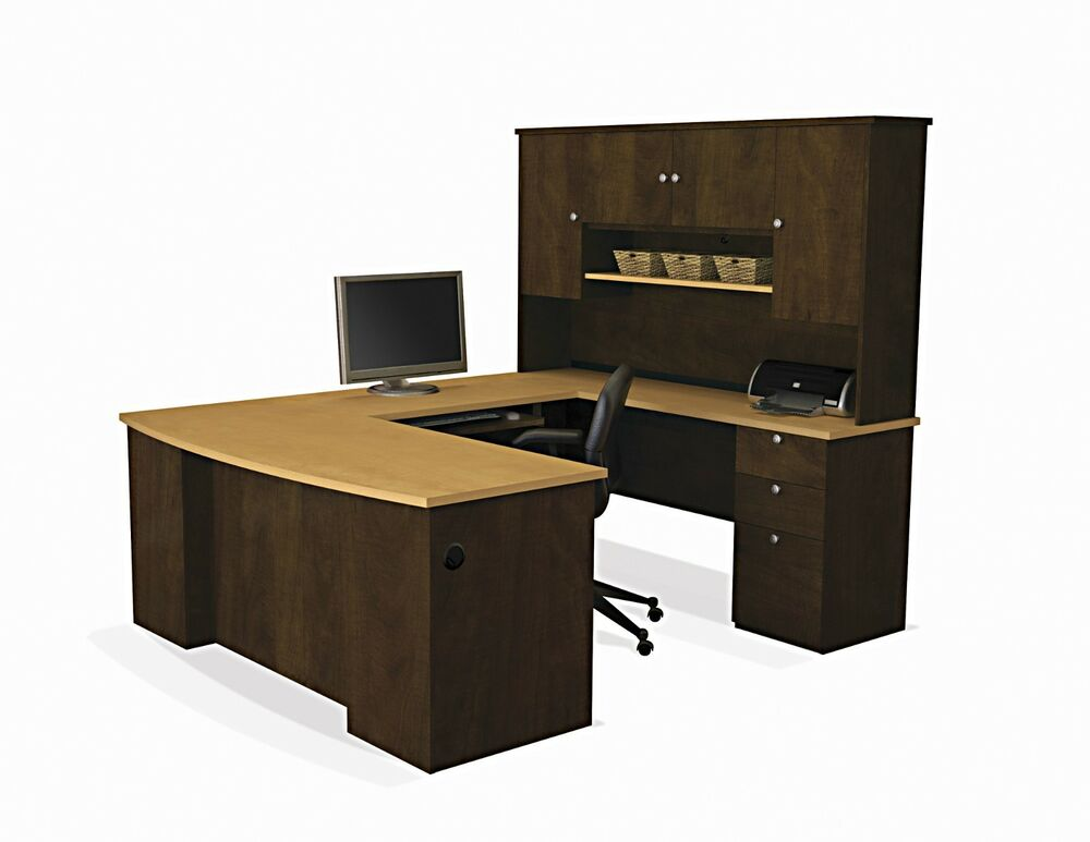Modern Office Desk: Executive U Desk Set Office Furniture Wood Large Computer