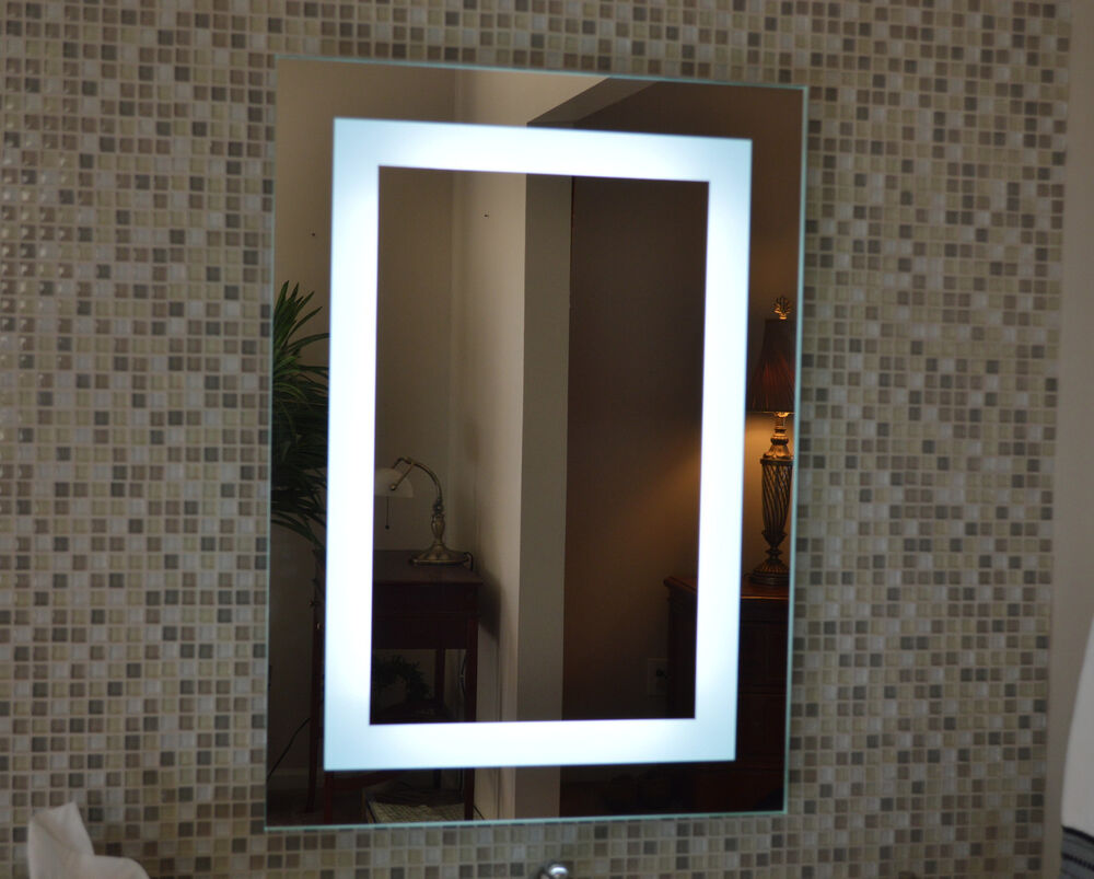 Lighted bathroom vanity make up mirror led lighted wall for Bathroom wall mirrors