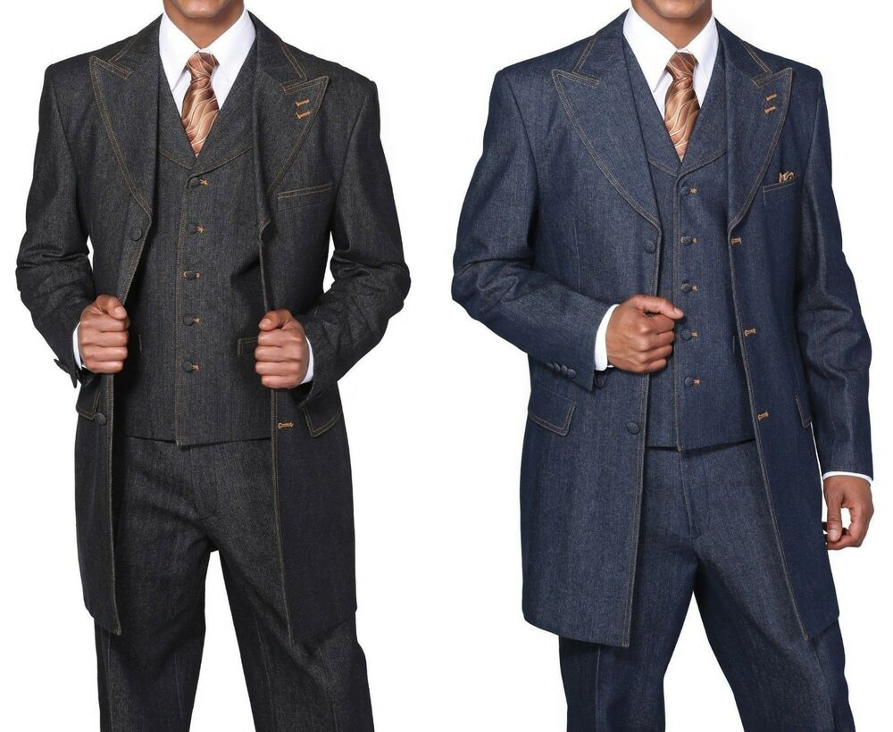 Clothing Connection Online includes designs for 2 and 3-piece denim suits as well as vest and pant combinations tailored for more casual looks than the full denim suit styles. Many of our ensembles include leather, velvet or satin trim, metal or slanted buttons and vary in length and extravagance.