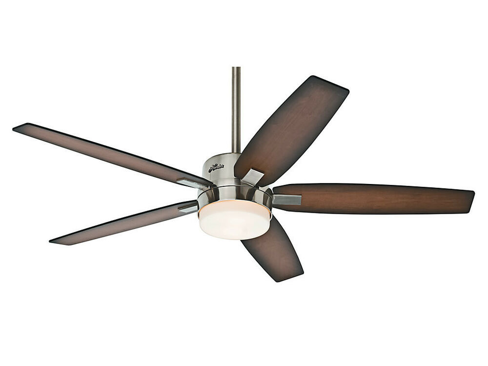 hunter 54 windemere brushed nickel 3 speed remote ceiling fan w light 59039 ebay. Black Bedroom Furniture Sets. Home Design Ideas