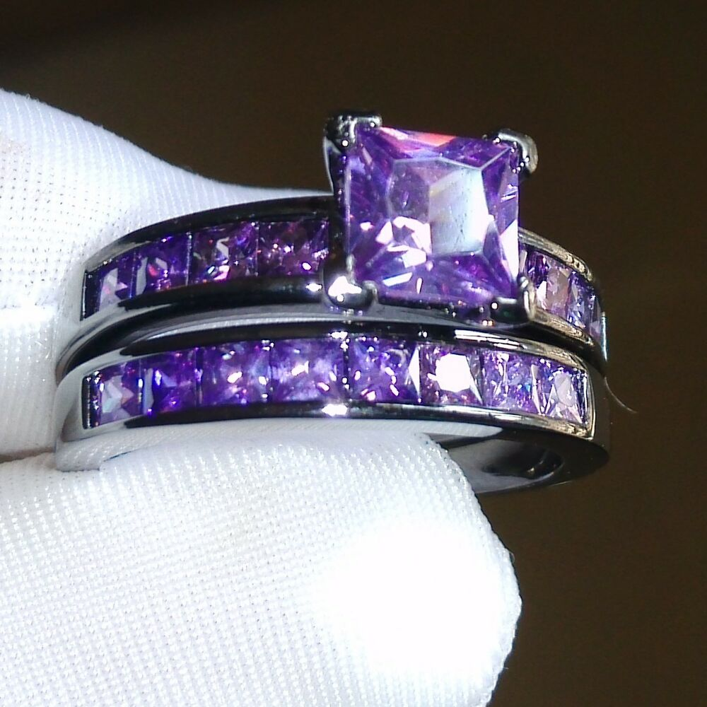 Sz5 10 retro princess cut 10kt black gold filled amethyst for Amethyst diamond wedding ring set