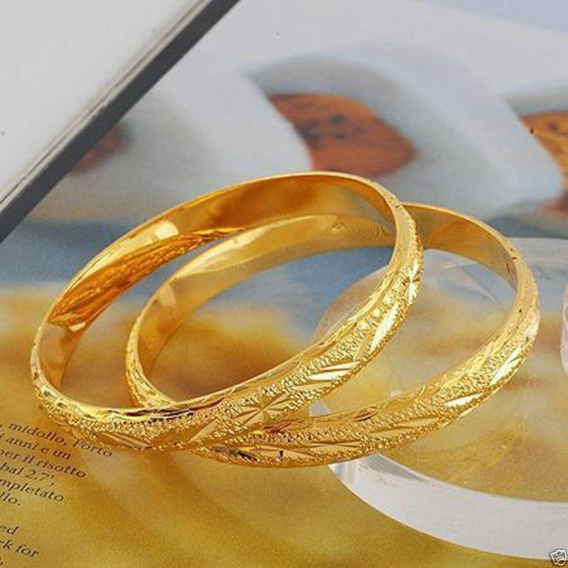 2pcs Real Carved 24k Gold Filled Womens Openable Bangle ...