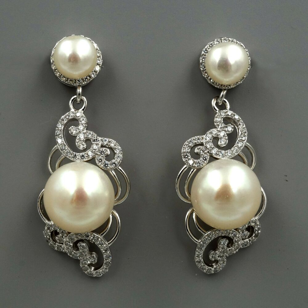 White pearl sterling silver cz dangle drop earrings for White pearl