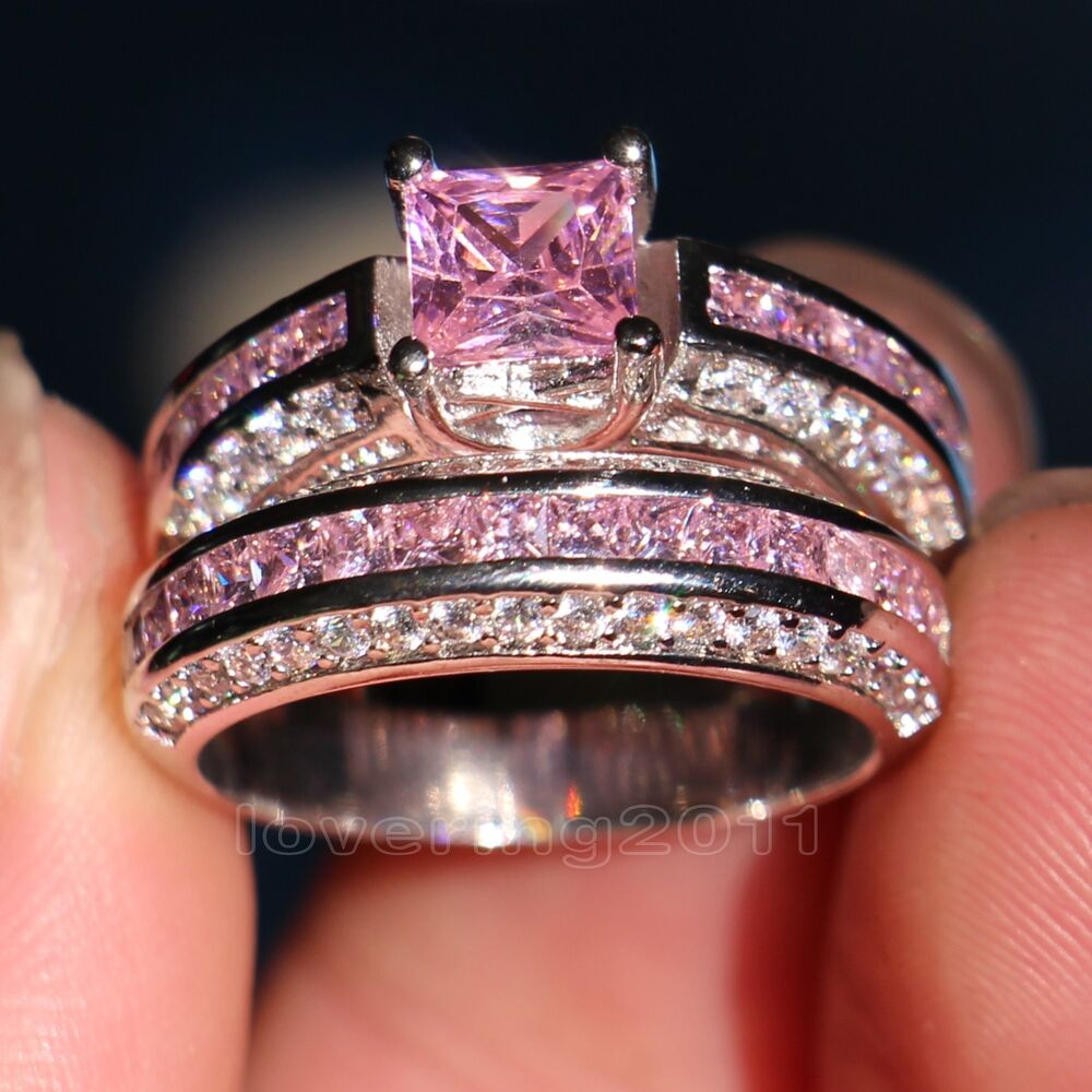 brand pink sapphire diamonique 10kt white gold gf wedding With pink sapphire wedding ring sets