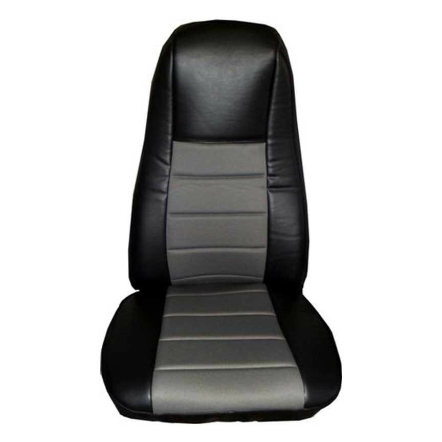 Heavy Truck Seat Covers : Seat cover w pocket black gray leather peterbilt